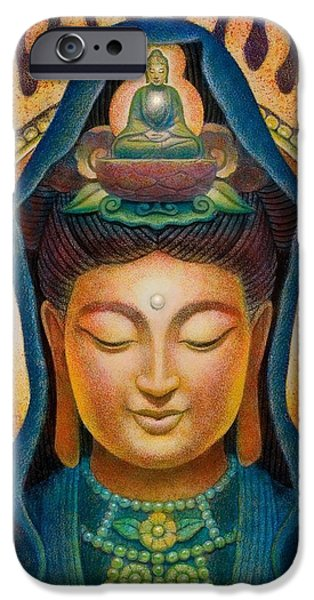 Yin Paintings iPhone Cases - Kuan Yin Flame iPhone Case by Sue Halstenberg