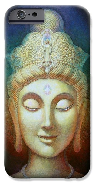 Yin Paintings iPhone Cases - Kuan Yins Light iPhone Case by Sue Halstenberg