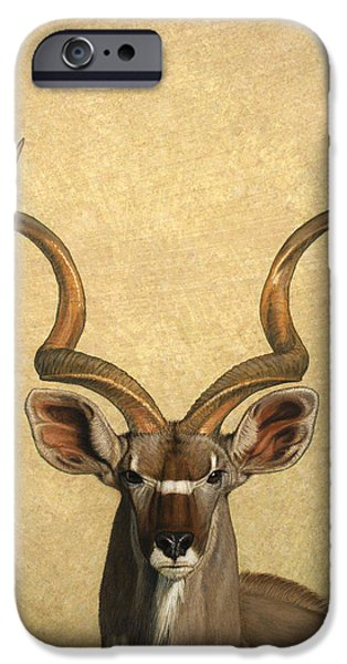 Animals Drawings iPhone Cases - Kudu iPhone Case by James W Johnson