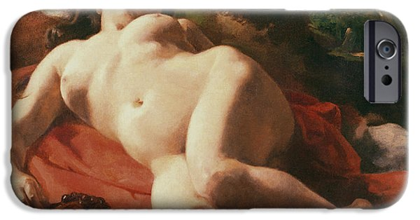 Rest Paintings iPhone Cases - La Bacchante iPhone Case by Gustave Courbet