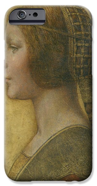 Profile iPhone Cases - La Bella Principessa - 15th Century iPhone Case by Leonardo da Vinci