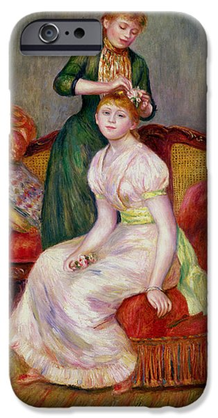 Hairstyle iPhone Cases - La Coiffure iPhone Case by Renoir