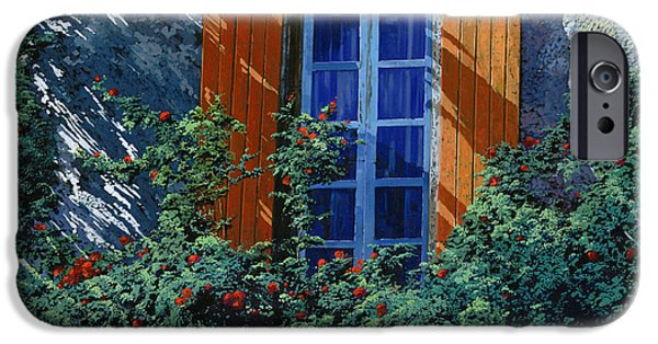 Window Paintings iPhone Cases - La Finestra E Le Ombre iPhone Case by Guido Borelli