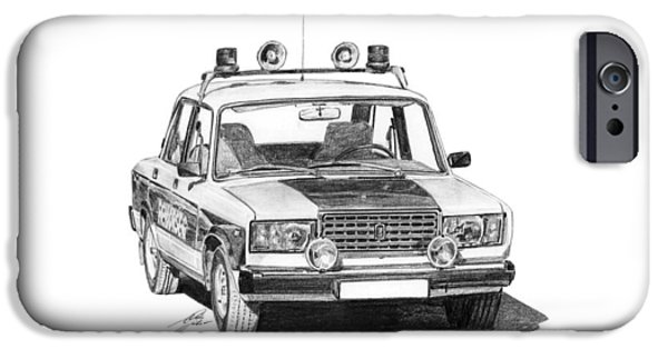 Police Drawings iPhone Cases - Lada VAZ 2107 Police car iPhone Case by Gabor Vida