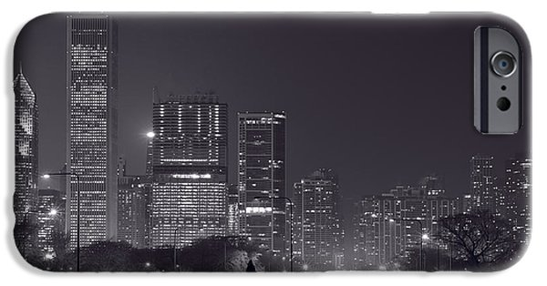Lake Shore Drive iPhone Cases - Lake Shore Drive Chicago B and W iPhone Case by Steve Gadomski