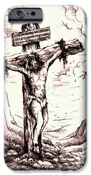 Crucifixtion iPhone Cases - Lamb of God iPhone Case by Rachel Christine Nowicki