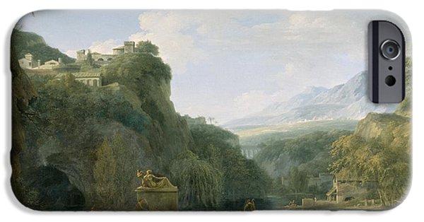 River View Paintings iPhone Cases - Landscape of Ancient Greece iPhone Case by Pierre Henri de Valenciennes