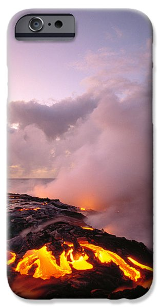 Combustion iPhone Cases - Lava Flows At Sunrise iPhone Case by Peter French - Printscapes