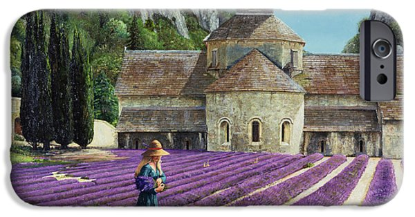 Abbey iPhone Cases - Lavender Picker - Abbaye Senanque - Provence iPhone Case by Trevor Neal