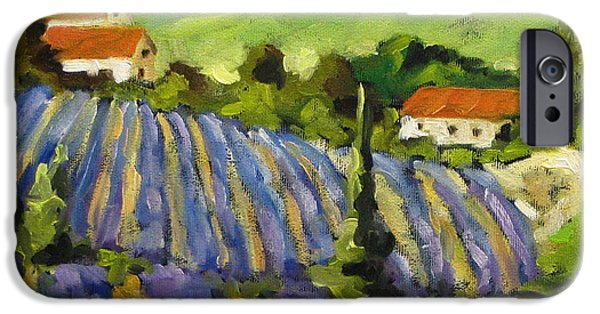 Canadiens Paintings iPhone Cases - Lavender Scene iPhone Case by Richard T Pranke