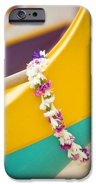 Overhang iPhone Cases - Lei draped over outrigger iPhone Case by Dana Edmunds - Printscapes