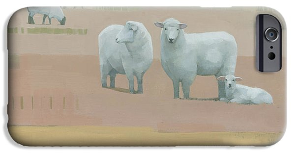 Sheep Paintings iPhone Cases - Life Between Seams iPhone Case by Steve Mitchell