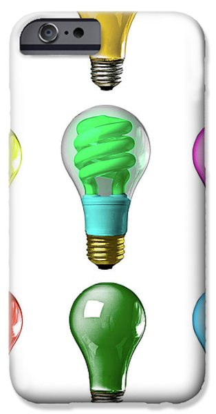 Business Photographs iPhone Cases - Light bulbs of a different color iPhone Case by Bob Orsillo