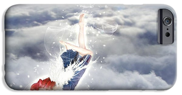 Christian Artwork Digital Art iPhone Cases - Light Play Angels Descent iPhone Case by Nikki Marie Smith