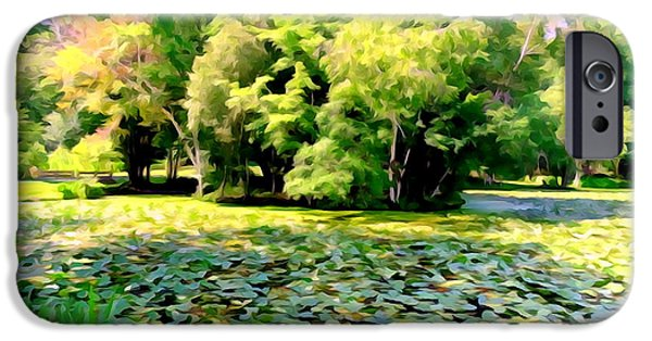Nature Abstracts iPhone Cases - Lily Pond #3 iPhone Case by Ed Weidman