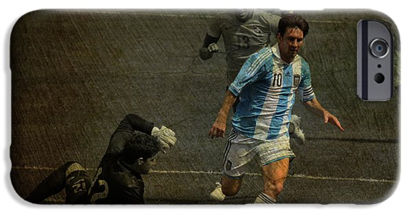 Clash Of Worlds iPhone Cases - Lionel Messi Breaking Raphael Cabrals Ankles  iPhone Case by Lee Dos Santos