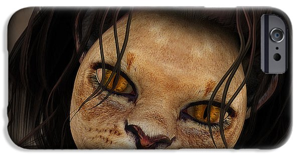 3d Graphic iPhone Cases - Lioness iPhone Case by Jutta Maria Pusl