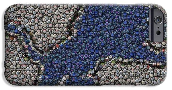 Bottlecaps iPhone Cases - Lions Bottle Cap Mosaic iPhone Case by Paul Van Scott