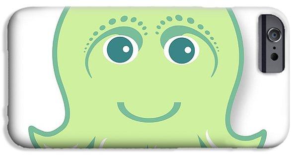 iPhone 6 Case - Little Cute Green Octopus by Ainnion