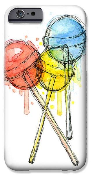 Red iPhone 6 Case - Lollipop Candy Watercolor by Olga Shvartsur