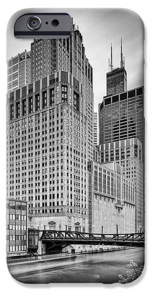 The White House Photographs iPhone Cases - Long exposure Image of Chicago River Civic Opera House and top of the Willis Tower - Illinois iPhone Case by Silvio Ligutti