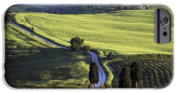 Tuscan Road iPhone Cases - Looking Down Road At Dusk To Old iPhone Case by Axiom Photographic