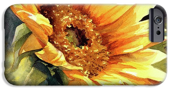 Sunflower Paintings iPhone Cases - Looking to the Sun iPhone Case by Bonnie Rinier