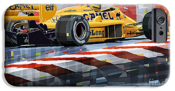Racing Mixed Media iPhone Cases - Lotus 99T 1987 Ayrton Senna iPhone Case by Yuriy  Shevchuk