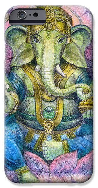 Spiritual iPhone Cases - Lotus Ganesha iPhone Case by Sue Halstenberg