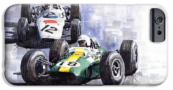Automotive iPhone Cases - Lotus vs Honda Mexican GP 1965 iPhone Case by Yuriy  Shevchuk