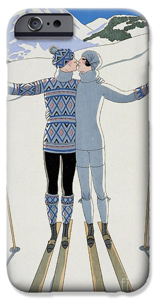 Day iPhone Cases - Lovers in the Snow iPhone Case by Georges Barbier