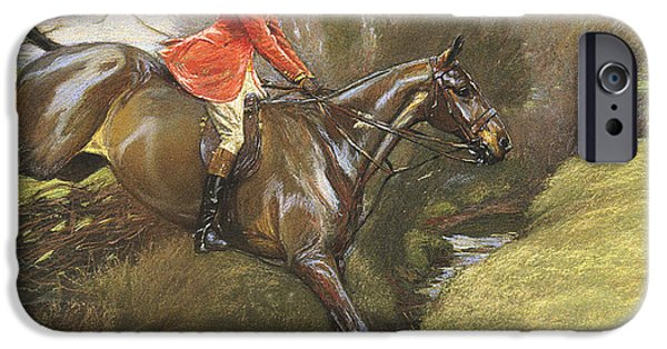 Rural iPhone Cases - Lt Col Ted Lyon Jumping a Hedge iPhone Case by Cecil Charles Windsor Aldin