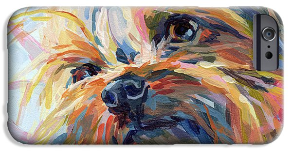 Yorkshire Terrier Art iPhone Cases - Lucy in the Sky iPhone Case by Kimberly Santini