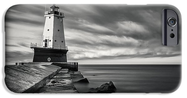 IPhone 6 Case featuring the photograph Ludington Light Black And White by Adam Romanowicz