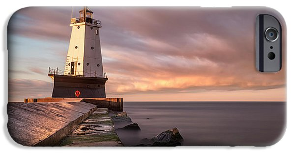 IPhone 6 Case featuring the photograph Ludington Light Sunrise Long Exposure by Adam Romanowicz