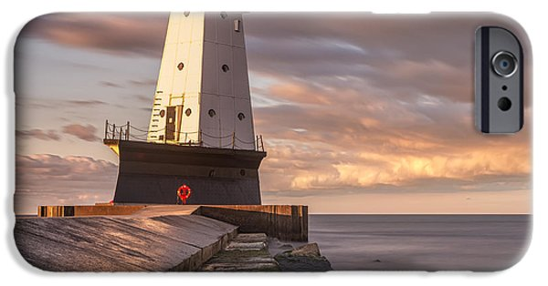 IPhone 6 Case featuring the photograph Ludington North Breakwater Light At Dawn by Adam Romanowicz
