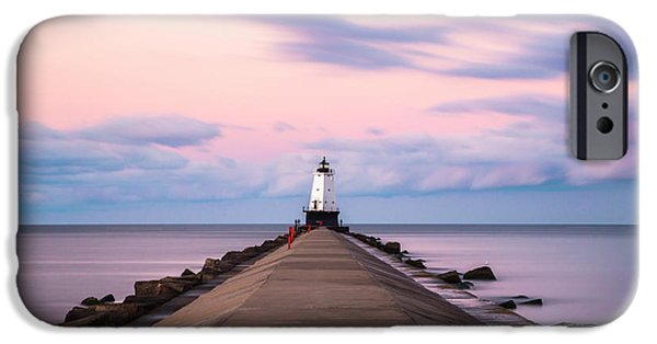 IPhone 6 Case featuring the photograph Ludington North Breakwater Light Sunrise by Adam Romanowicz