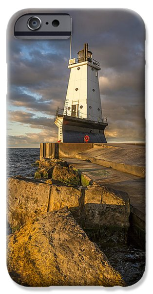 IPhone 6 Case featuring the photograph Ludington North Breakwater Lighthouse At Sunrise by Adam Romanowicz