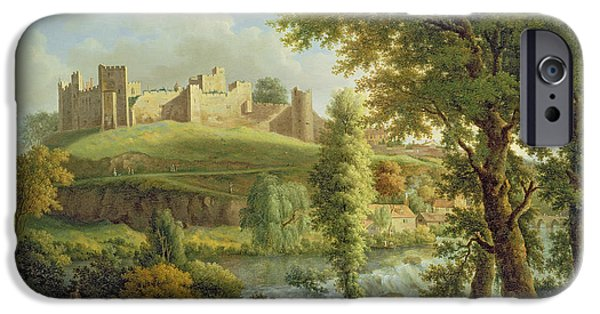 Castle iPhone Cases - Ludlow Castle with Dinham Weir iPhone Case by Samuel Scott