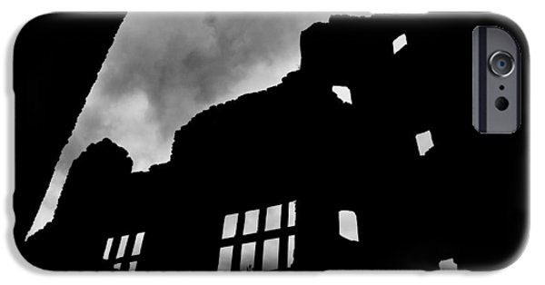Haunted House iPhone Cases - LUDLOW STORM threatening skies over the ruins of a castle spooky halloween iPhone Case by Andy Smy