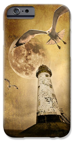 Flying Seagull iPhone Cases - Lunar Flight iPhone Case by Meirion Matthias