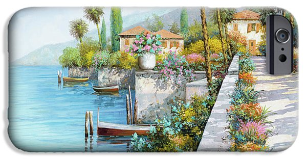 Lakescape iPhone Cases - Lungolago iPhone Case by Guido Borelli