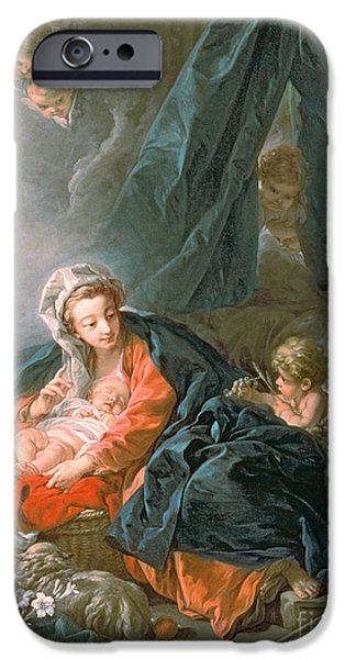 Manger iPhone Cases - Madonna and Child iPhone Case by Francois Boucher