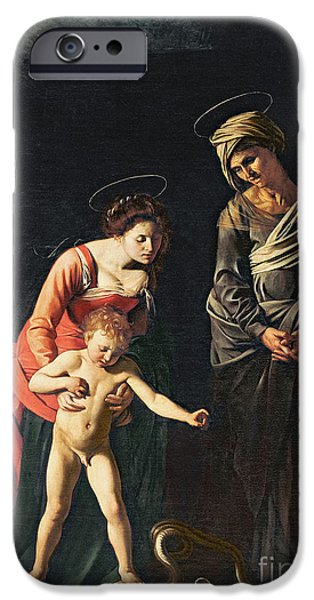 Young iPhone Cases - Madonna and Child with a Serpent iPhone Case by Michelangelo Merisi da Caravaggio