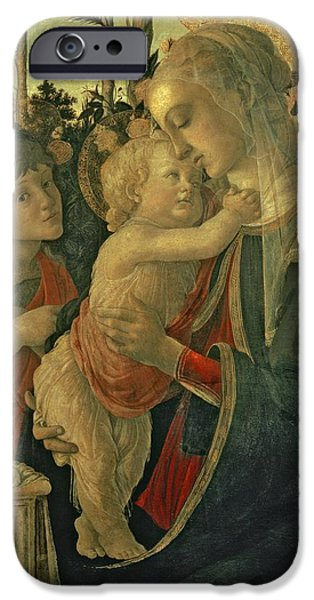 Young iPhone Cases - Madonna and Child with St. John the Baptist iPhone Case by Sandro Botticelli