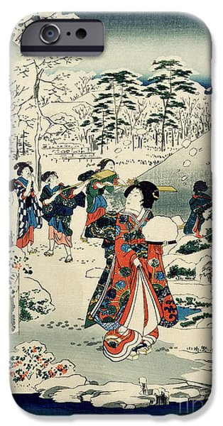 Snowy Stream iPhone Cases - Maids in a snow covered garden iPhone Case by Hiroshige