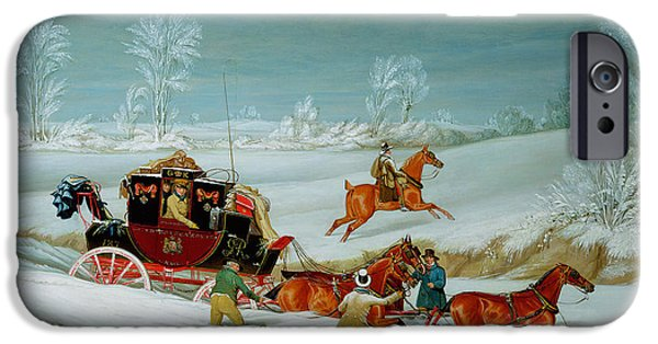 Recently Sold -  - Snowy iPhone Cases - Mail Coach in the Snow iPhone Case by John Pollard