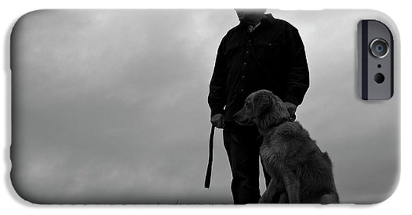 Dog In Landscape iPhone Cases - Man and His Dog in Silhouette iPhone Case by Lorraine Devon Wilke
