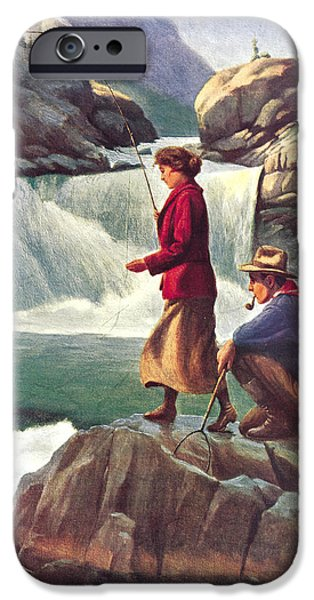 Exploring Paintings iPhone Cases - Man and Woman Fishing iPhone Case by JQ Licensing