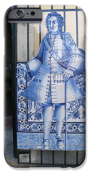 Tile Glass Art iPhone Cases - Man of Blue Tiles iPhone Case by Carl Purcell